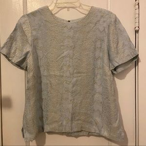The Limited - Light Blue/ Grey Patterned Blouse- M